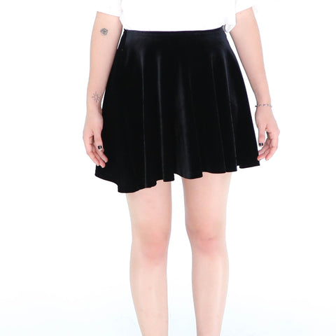 Black Velvet Mini Skirt