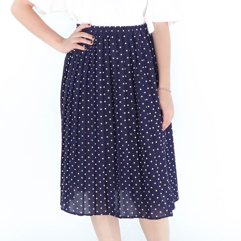 Blue Navy & Dots Skirt