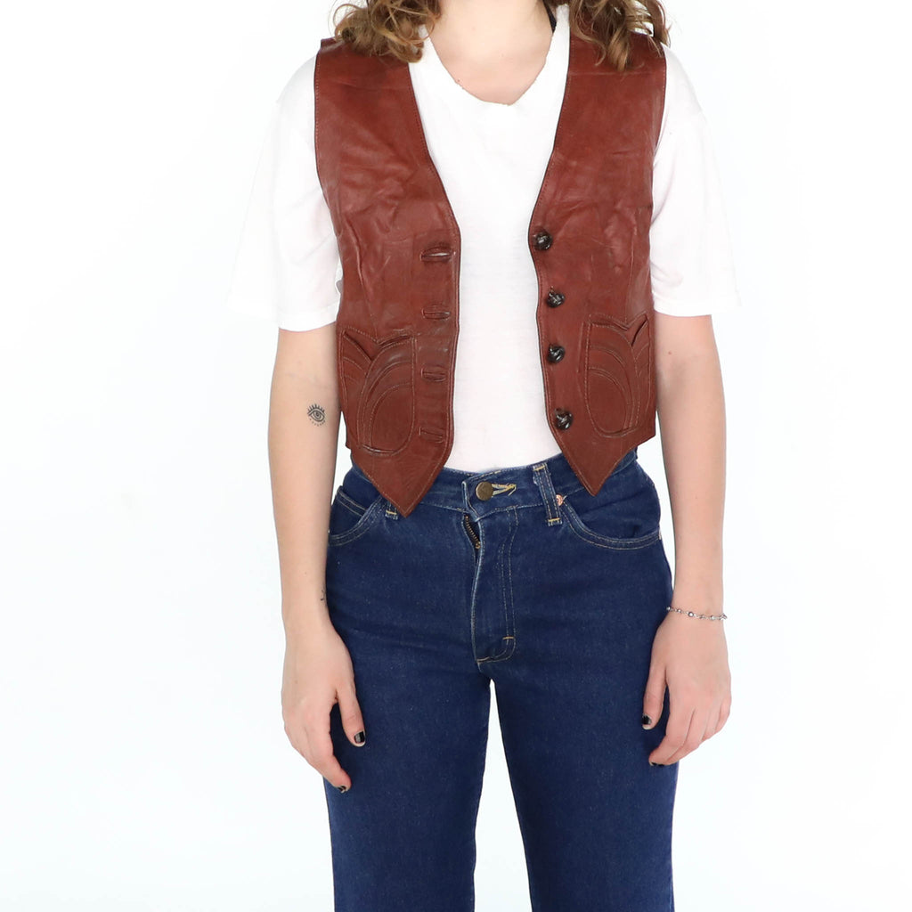 Tobacco Leather Short Vest