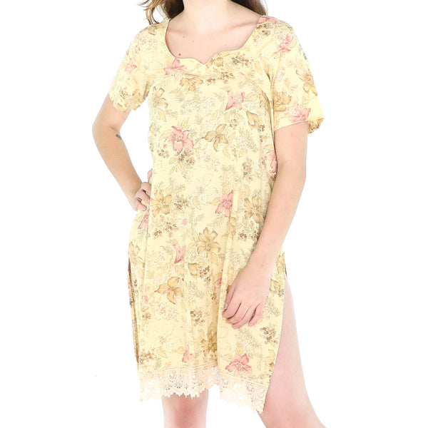 Yellow & Pink Flowers Cotton 60's Shift Dress