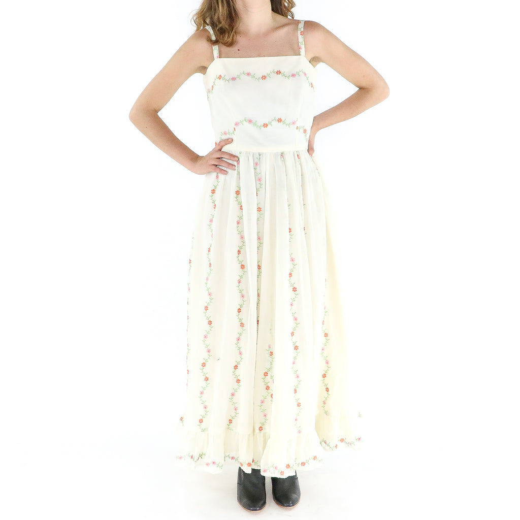 Ivory Cotton 70's Sun Pleated Dress
