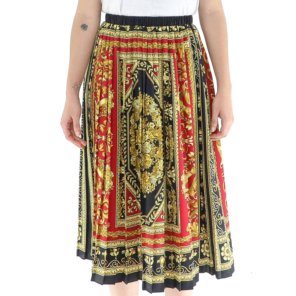 Black, Red & Gold 70's Accordion Midi Skirt