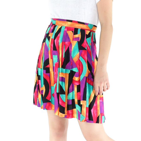 Colorful Rayon Abstract 60's Mini Skirt