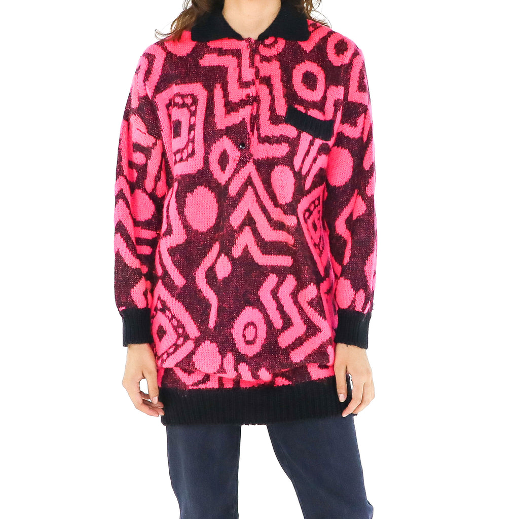 Neon Pink Shapes Sweater