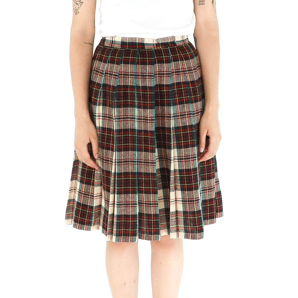 3D Glasses Plaid Skirt
