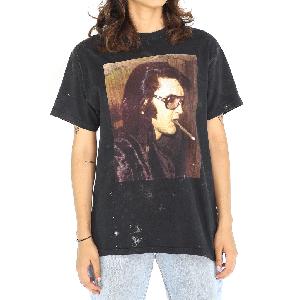 Smoking Elvis Black Cotton Vintage T-Shirt