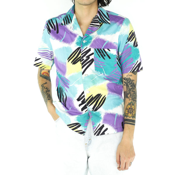 Multicolor Cotton Abstract Short Sleeve Shirt
