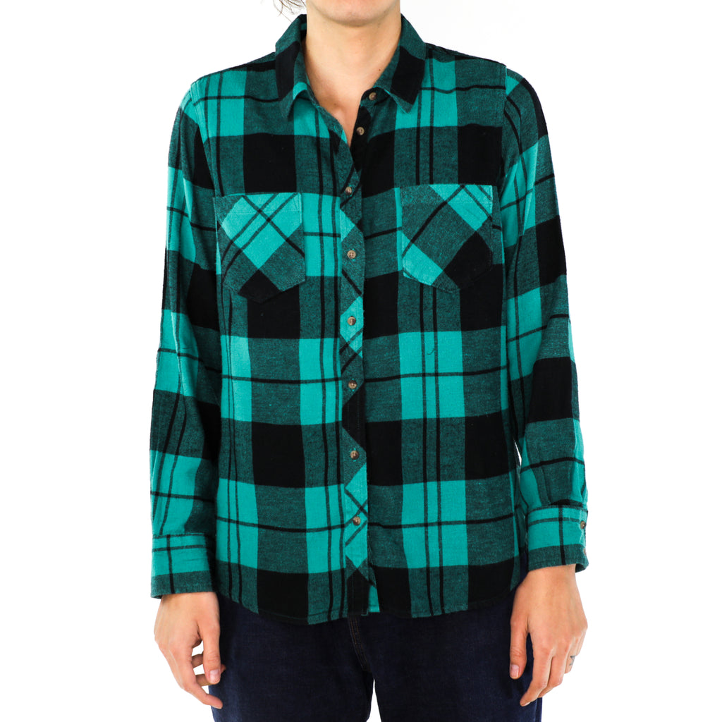 Teal & Black Plaid Flannel