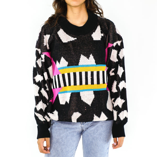 Multicolor Abstract 80's Sweater
