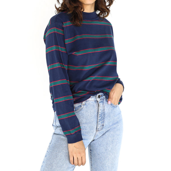 Navy Blue Cotton Striped Sweatshirt