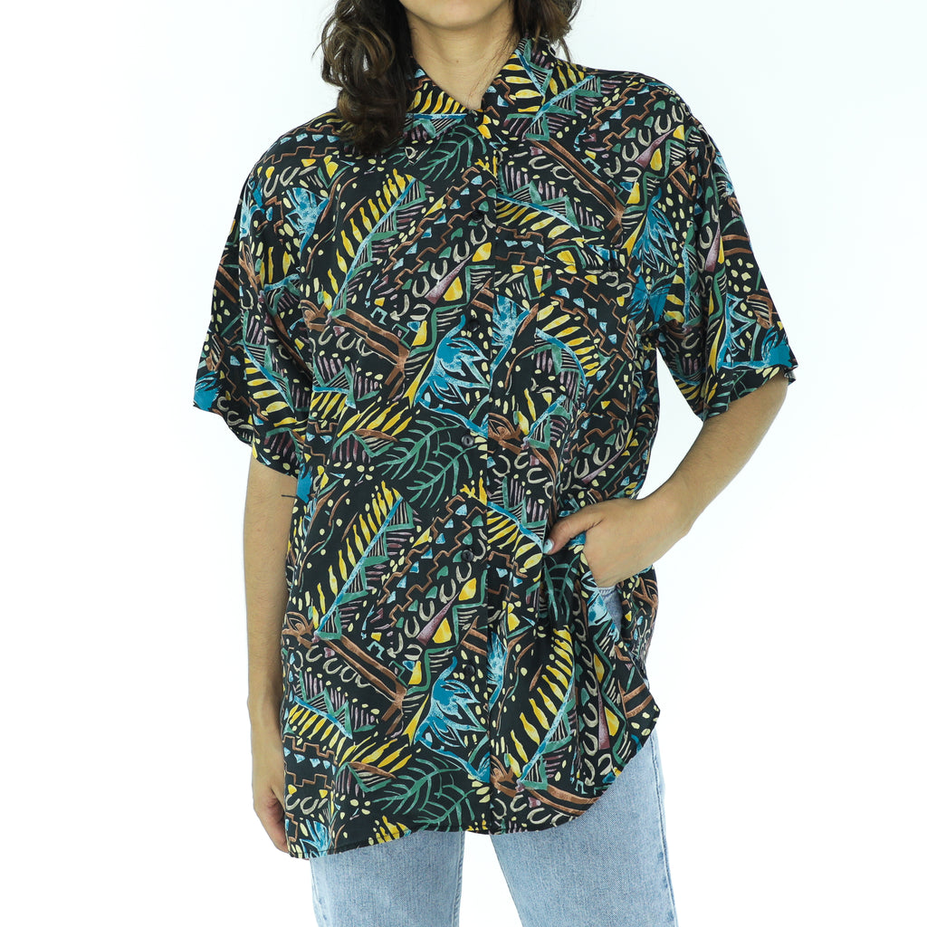 Multicolor Silk Abstract Blouse