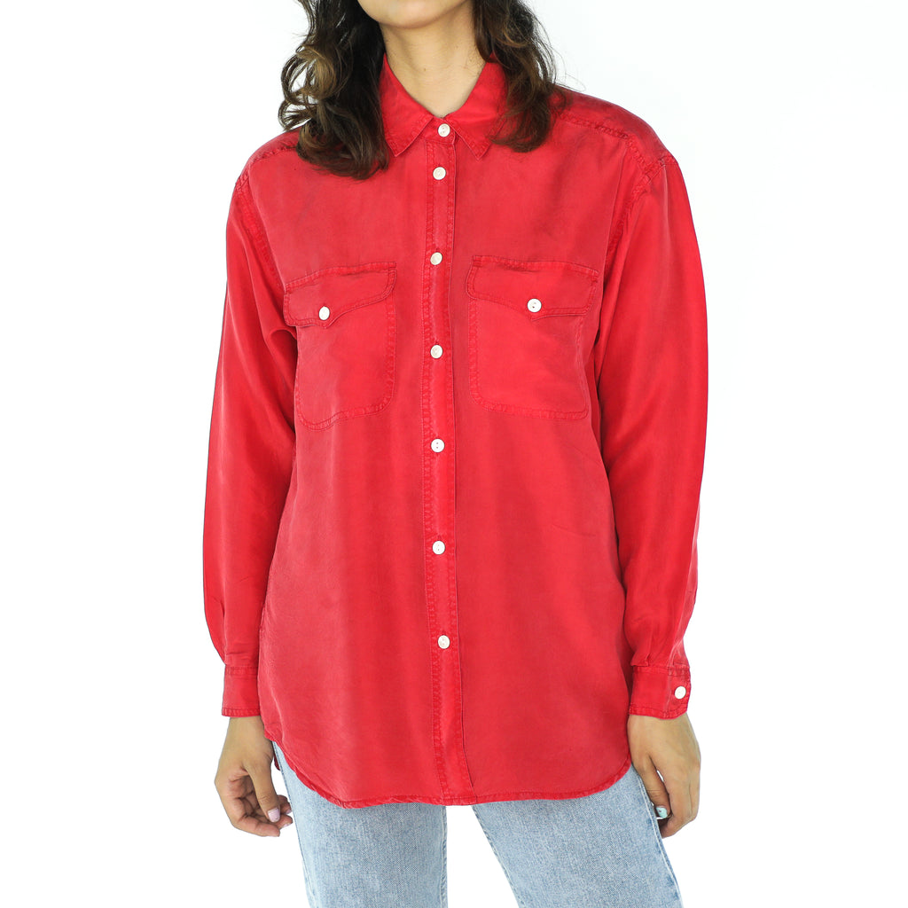 Red Silk Long Sleeve Blouse