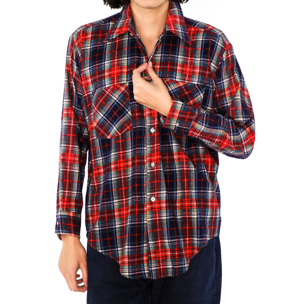Scarlet, Navy & Cobalt Blue Cotton Plaid Flannel