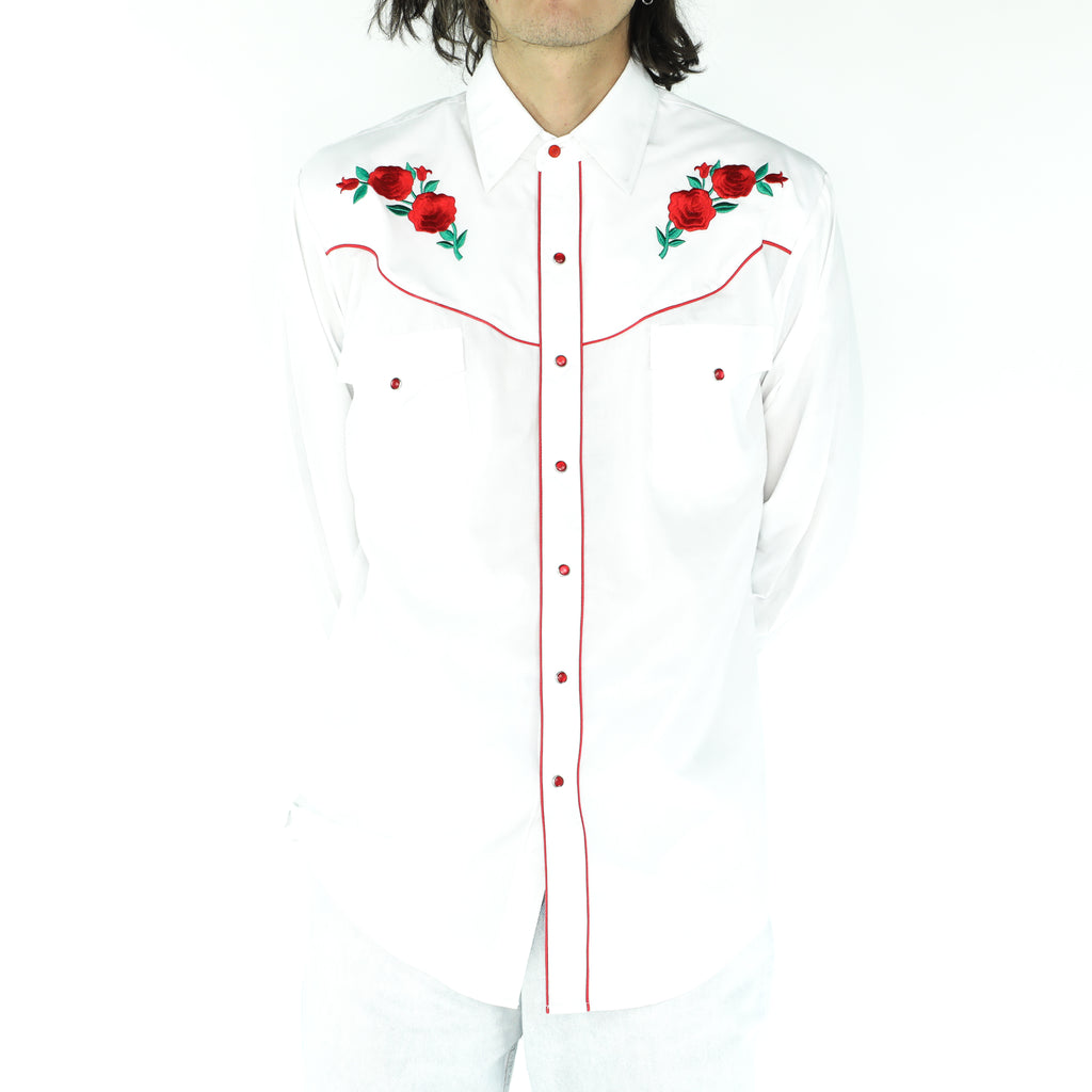White & Red Flowers Cotton Shirt