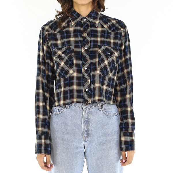 Grey & Crimson Tartan Blouse