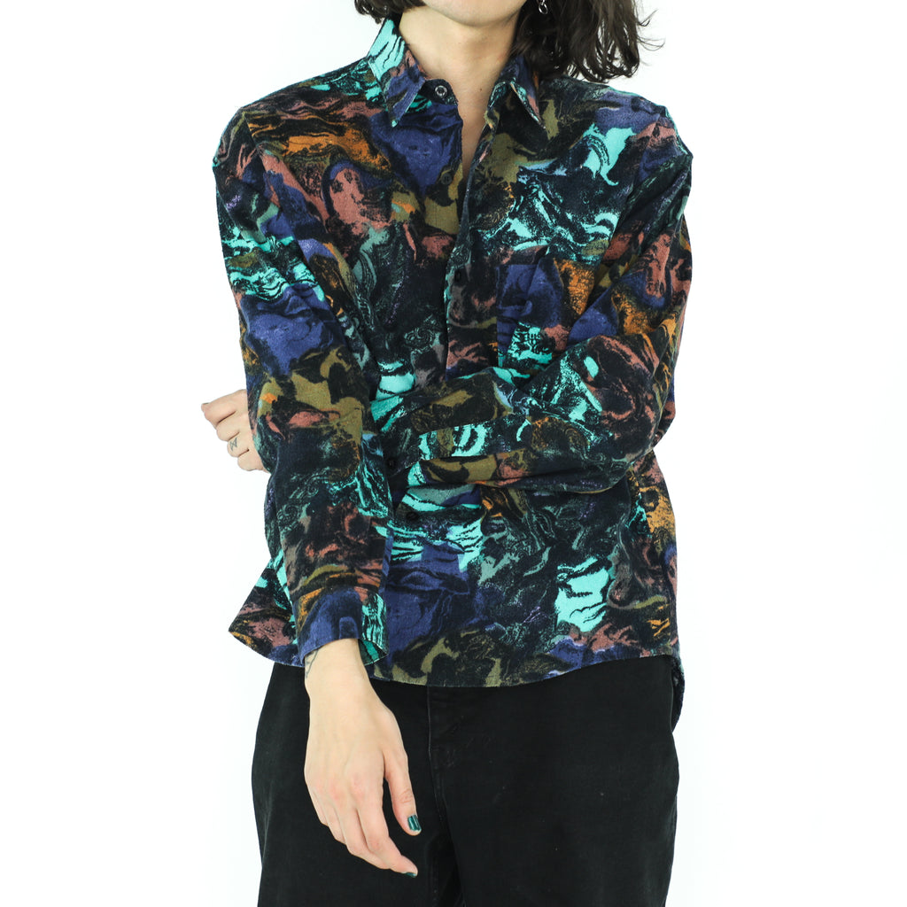 Fire & Ocean Abstract Cotton Shirt