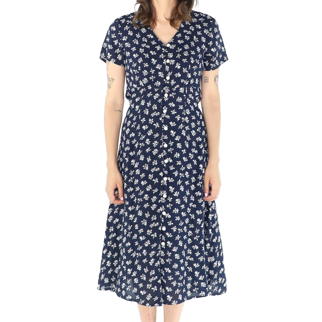 Navy Blue Rayon Ditsy 80's A-line Dress