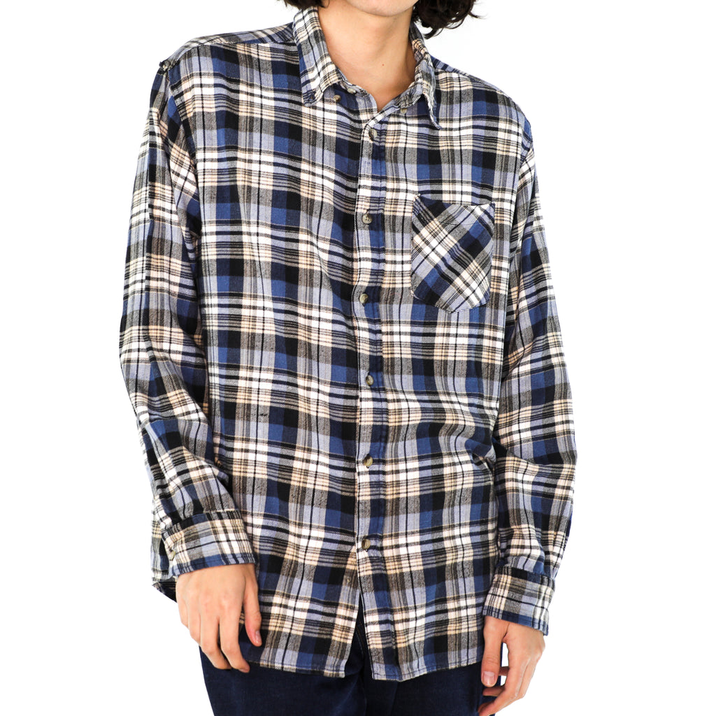 Cobalt Blue & White Cotton Plaid Flannel