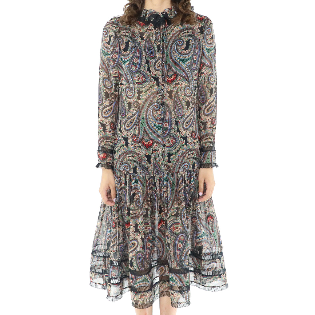 Vintage Paisley Long Sleeve Pleated Dress
