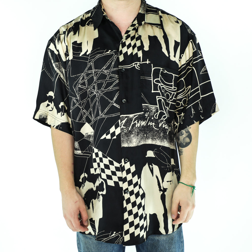 Black & Beige Silk Digital Pattern Shirt