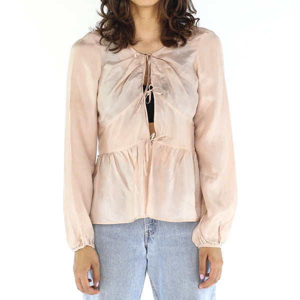 Peachy Silk Open Front Blouse