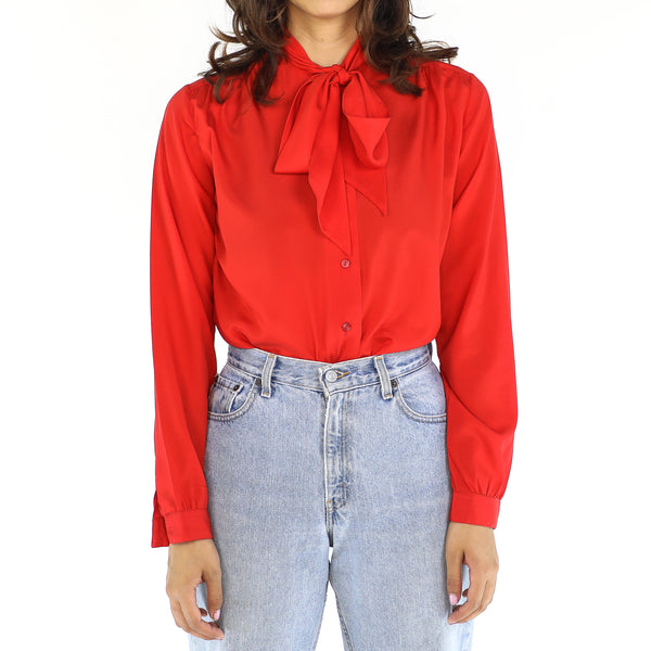Crimson Ribbon Blouse