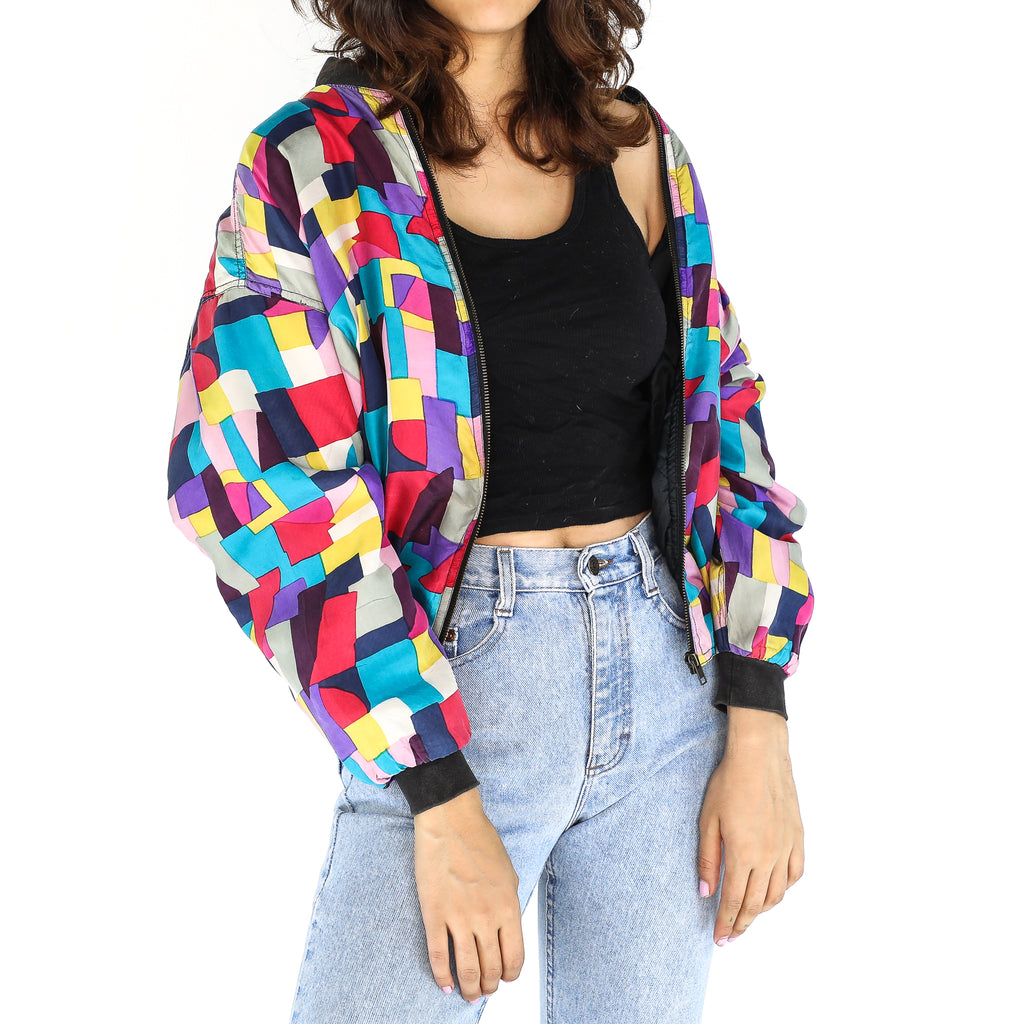 Colorful Geometric Silk Bomber Jacket