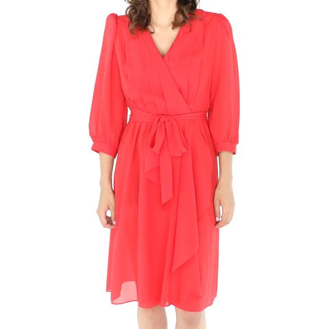 Red 70's Wrap Midi Dress