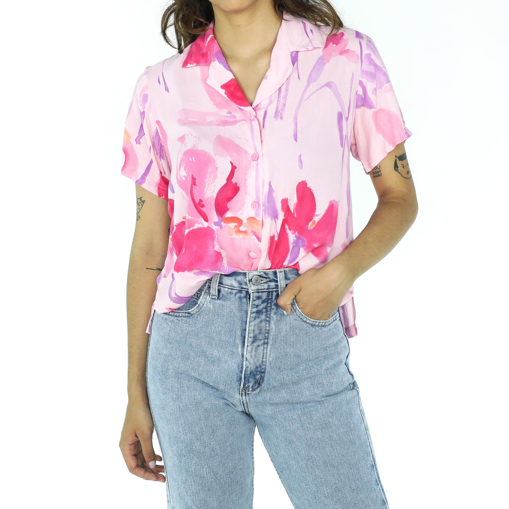 Pink & Purple Rayon Abstract Blouse