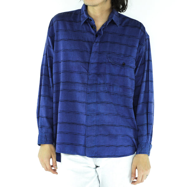 Cobalt Blue Cotton Long Sleeve Shirt