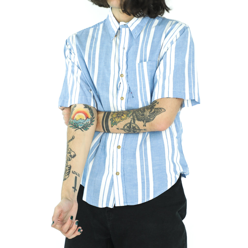 Powder Blue & White Cotton Shadow Striped 70's Shirt