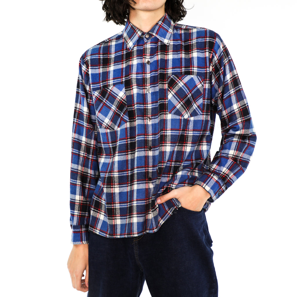 Sapphire Blue, Scarlet & White Plaid Cotton Flannel