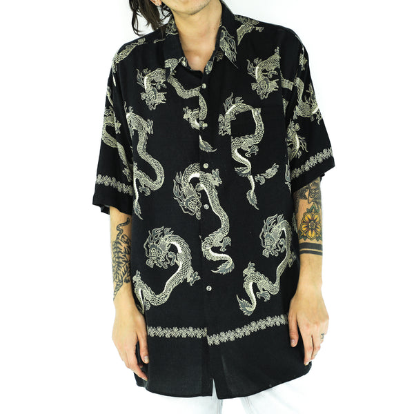 Black Rayon Dragons Short Sleeve Shirt