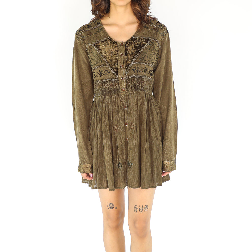 Olive Boho Cotton Dress