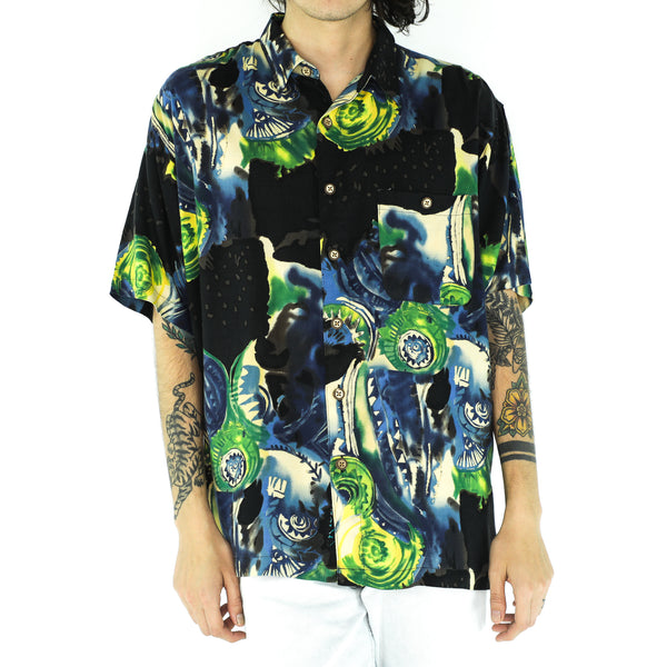 Multicolor Rayon Psychedelic Print Shirt
