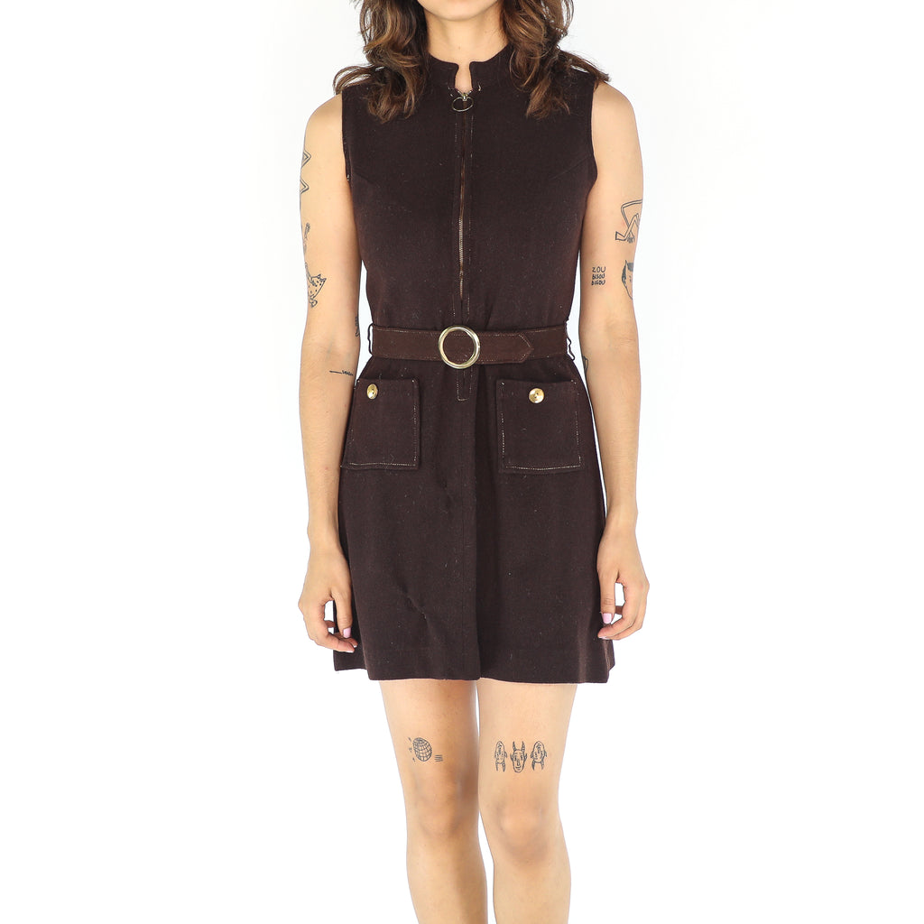 Chocolate Wool 70's Dress
