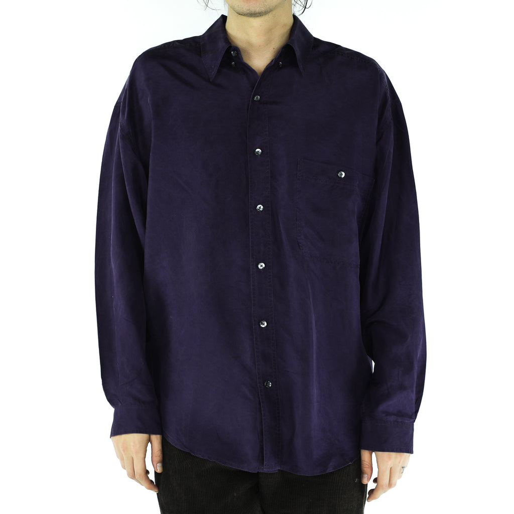 Indigo Silk 80's Long Sleeve Shirt