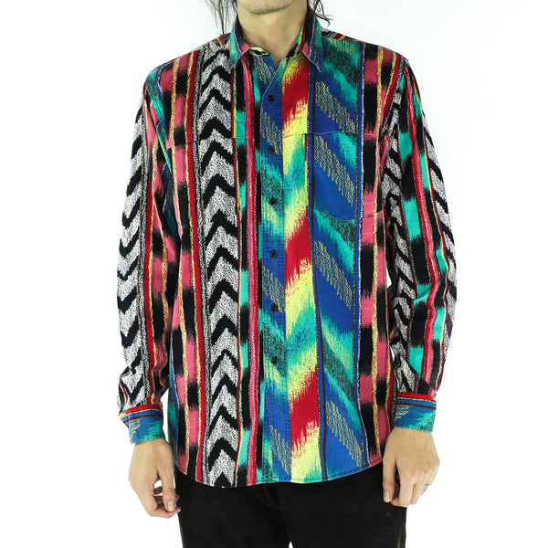 Multicolor Cotton 90's Long Sleeve Shirt