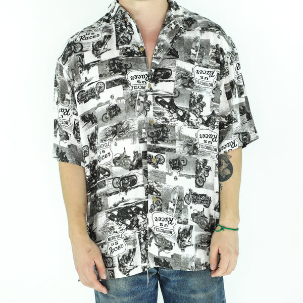 Black & White Rayon 70's Shirt