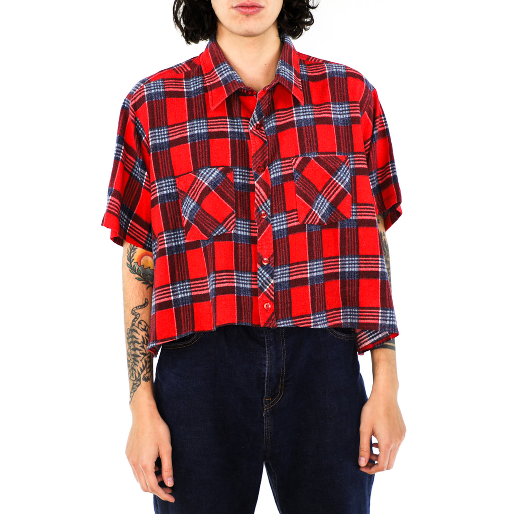 Scarlet & Sangria Cropped Plaid Cotton Flannel