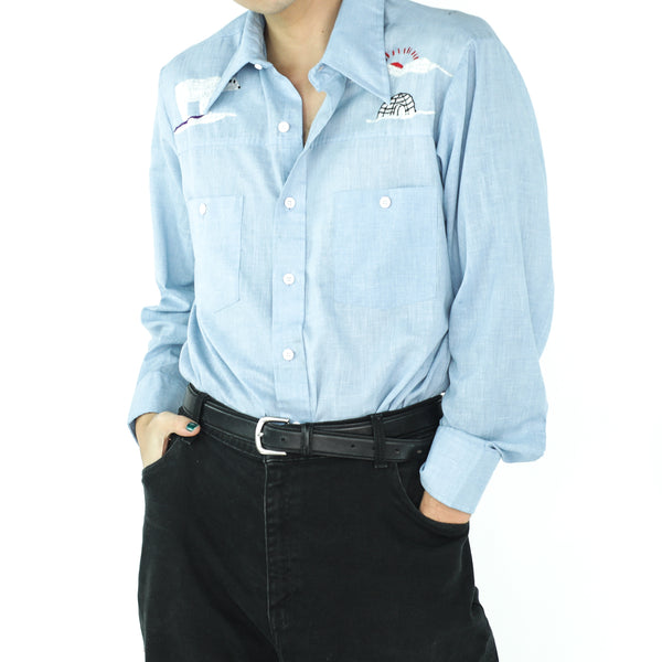 North Pole Baby Blue 70's Embroidered Shirt