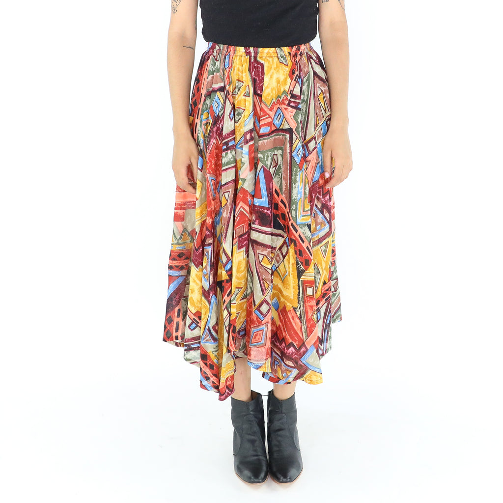 Colorful Cotton Abstract Pleated Midi Skirt