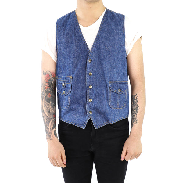 Navy Blue Denim Vest
