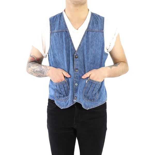 Blue Denim Vest With Bags
