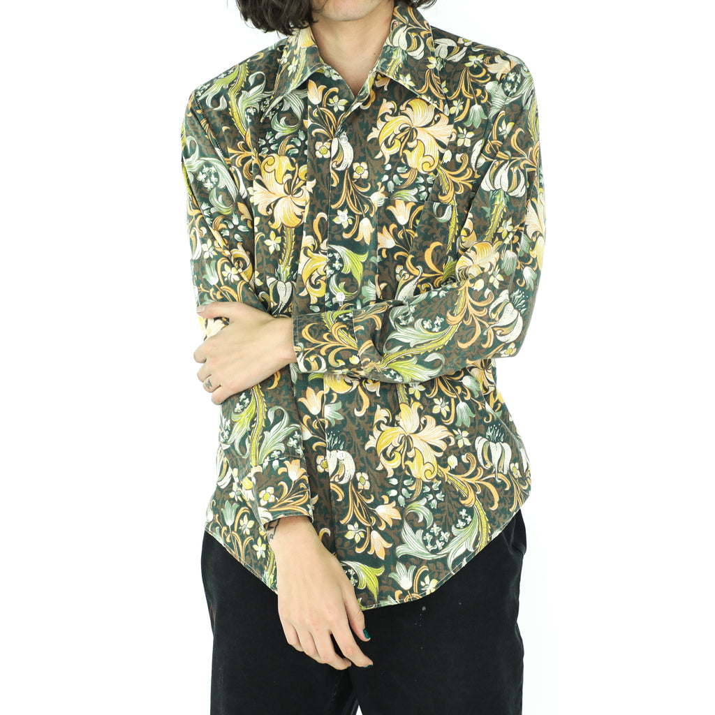Shades of Green Floral Tapestry 70's Shirt