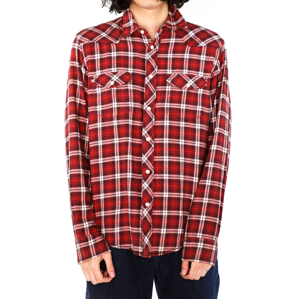 Red & White Plaid Flannel Shirt
