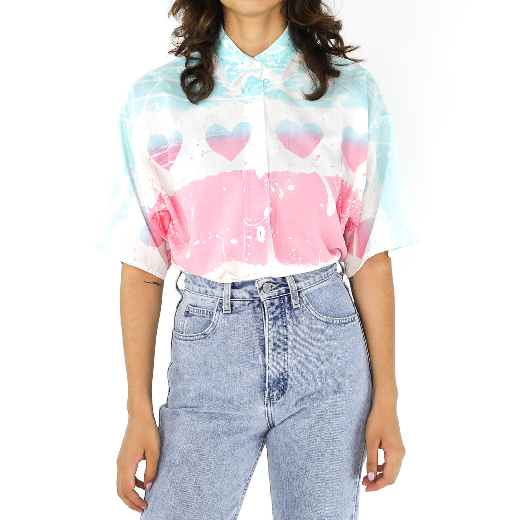 Washed Out Pink & Blue 80's Blouse