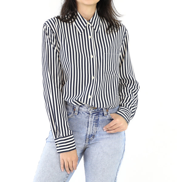 Space Blue & White Silk Long Sleeve Blouse