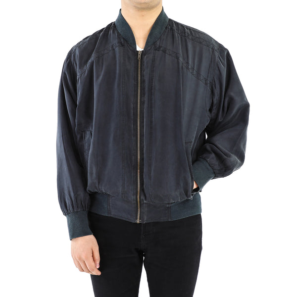 Black Plain Silk Bomber Jacket