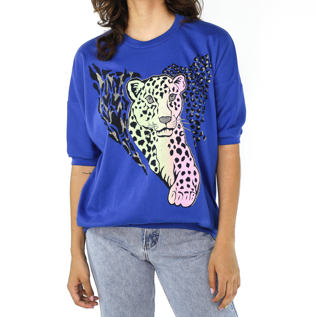 Cobalt Blue & Leopard Cotton T-shirt